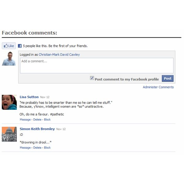 Many websites use Facebook for hosting comments