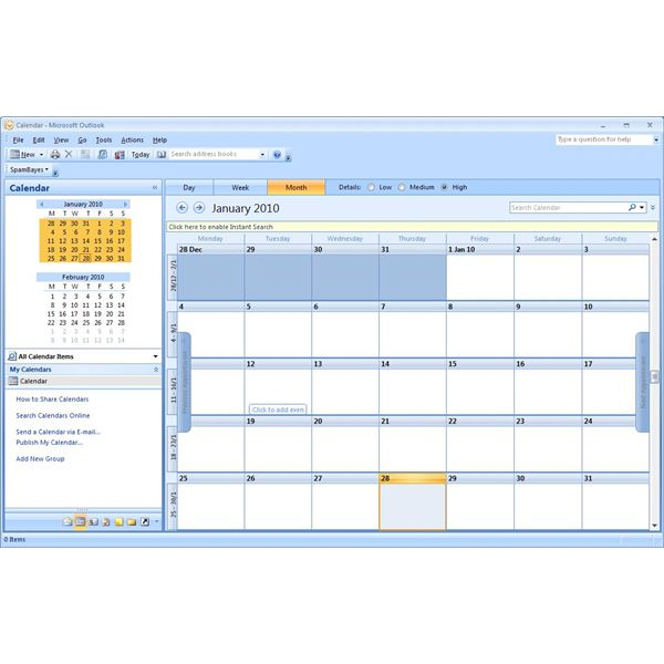 An example of a blank Outlook calendar, waiting for appointments and events to be added!