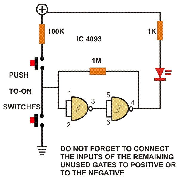 nand gate circuit designs you can build flasher set reset latch rh brighthubengineering com reset switch circuit diagram alarm reset circuit diagram