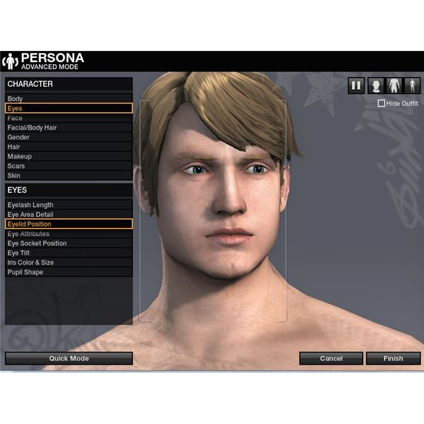 Character face options in detail