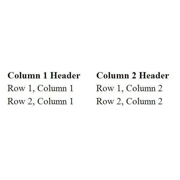 Table Template with Column Headers: No Border