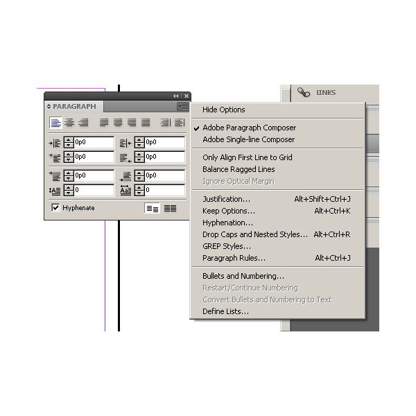 indesign paragraph palette options