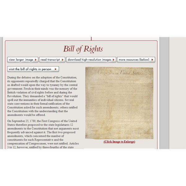 Bill of Rights from archives.gov