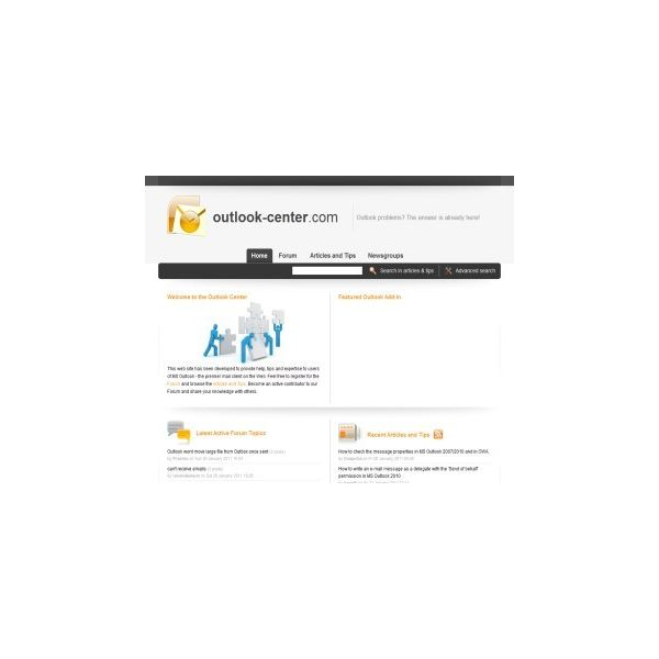 The home page of Outlook-Center