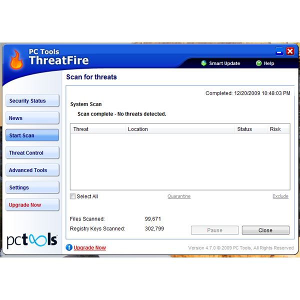 Full System Scan using ThreatFire AV
