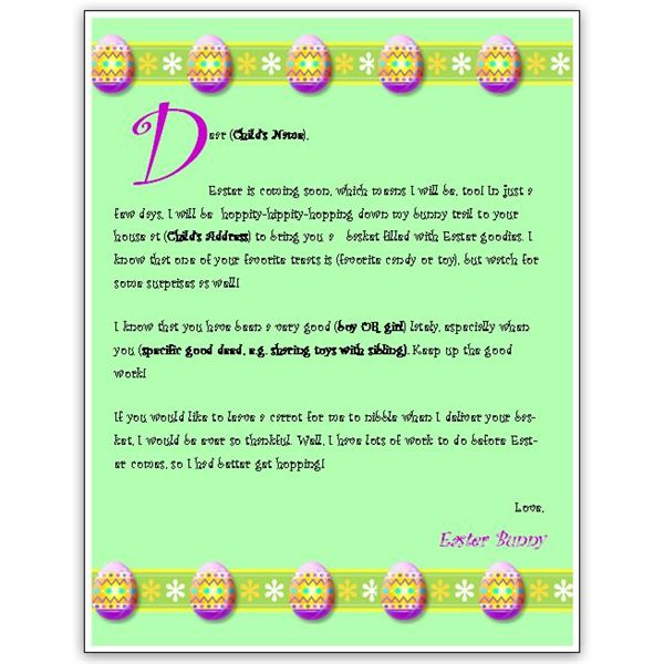A Free Easter Bunny Letter Template For Ms Word Or Publisher