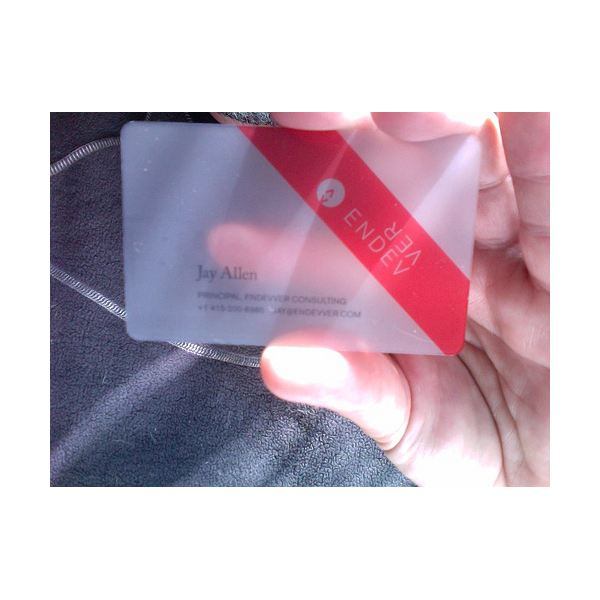 Plastic is a durable and interesting material for business cards.