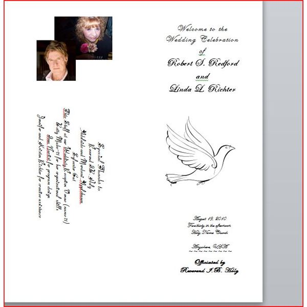 Wedding Brochure, front panel