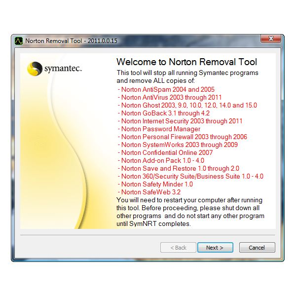 Supported Norton Products by SymNRT