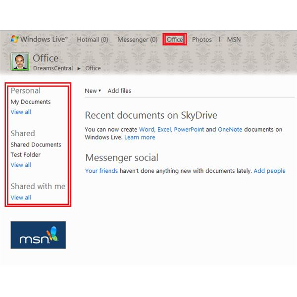 Fig 2 - SkyDrive Privacy - Viewing Folder Settings in SkyDrive