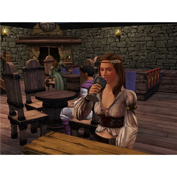 A sim enjoying a goblet of beer in a tavern.