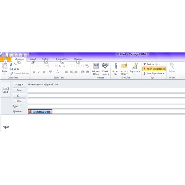 Fig 4 - Compose Mail Window with Distribution List as Attachment