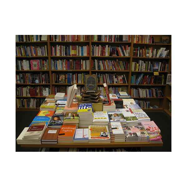 A bookstore display for several authors.