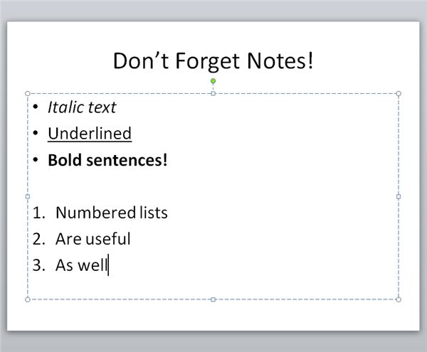 Standard Formatting Conventions