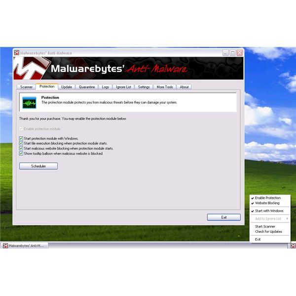 Protection Options of registered MBAM software