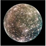 An image of Callisto, which in addition to other characteristics has a thin atmosphere, most likely composed of carbon dioxide and molecular oxygen; Callisto has exhibits a strong ionosphere.