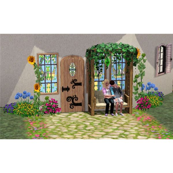 The Sims 3 flowers in front of house