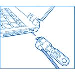 Illustration of how a specialized cable is used to secure a laptop, using the security slot. Image source: http://us.kensington.com