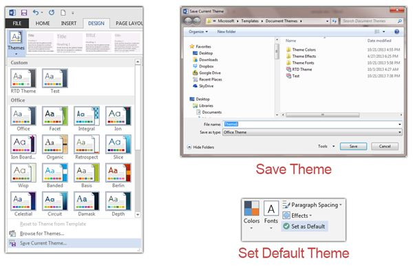 Save the Theme and Make It Default