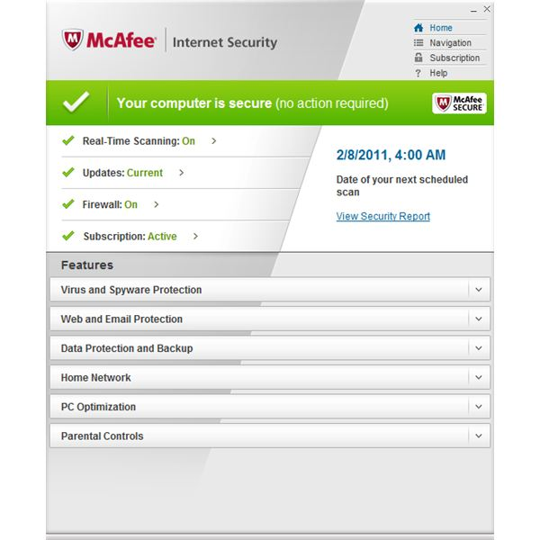 McAfee 2011 Internet Security Suite User Interface