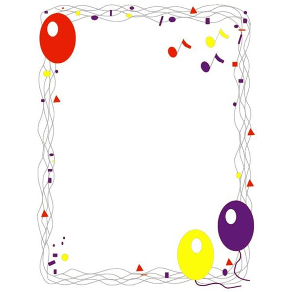 Balloons & Confetti Birthday Border