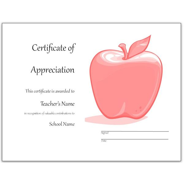 red apple teacher appreciation certificate