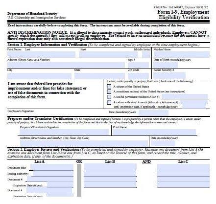 Screenshot I9 Form courtesy US Immigration Service
