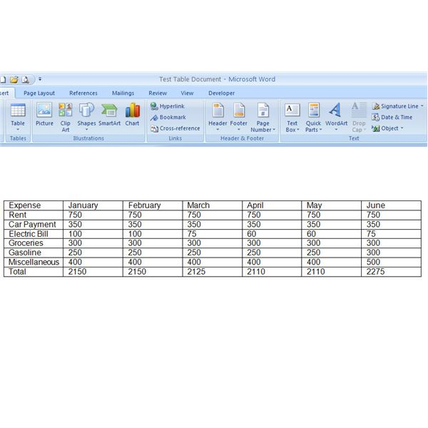 How to format and design a table in microsoft word 2007 for Table design ms word