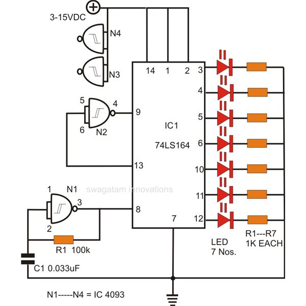 How to Make an LED Moving Sign, Circuit Diagram, Image
