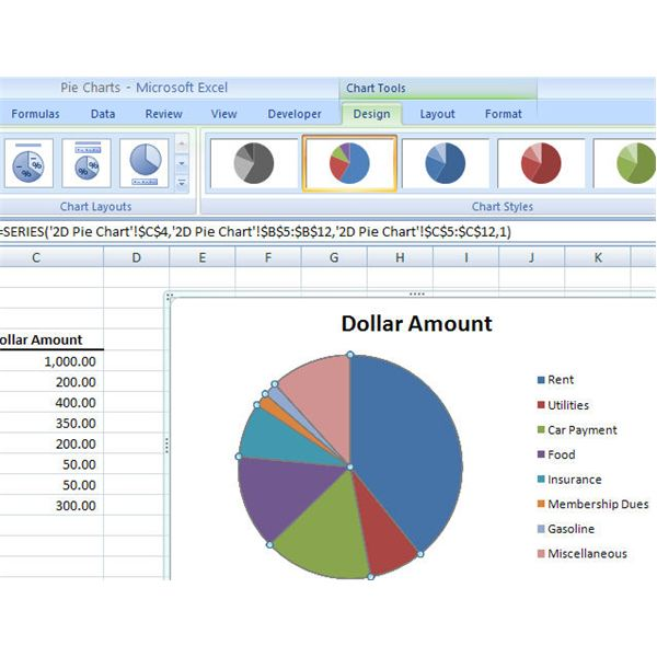 How to create a basic pie chart in microsoft excel 2007 modifying the pie chart design ccuart
