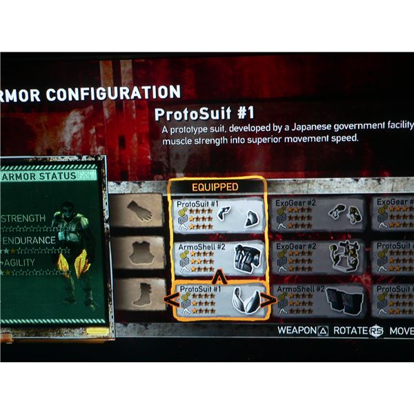 A look at the armor upgrade menu in Dead Nation.