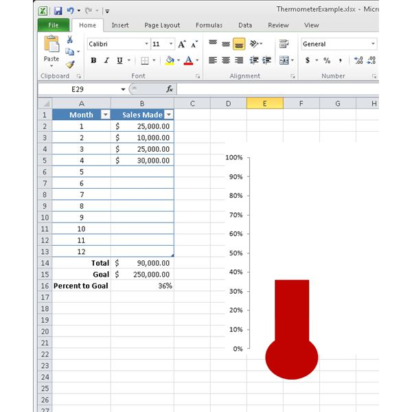 How To Make A Thermometer Chart In Microsoft Excel