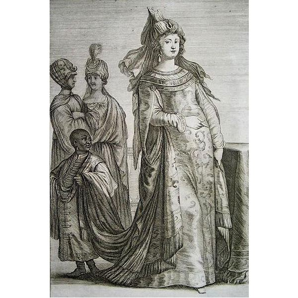A 1647 depiction of Kosem Sultan and attendants