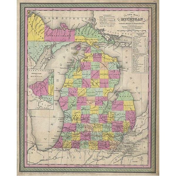 1853 Map of Michigan (Image Credit: Wikimedia Commons)