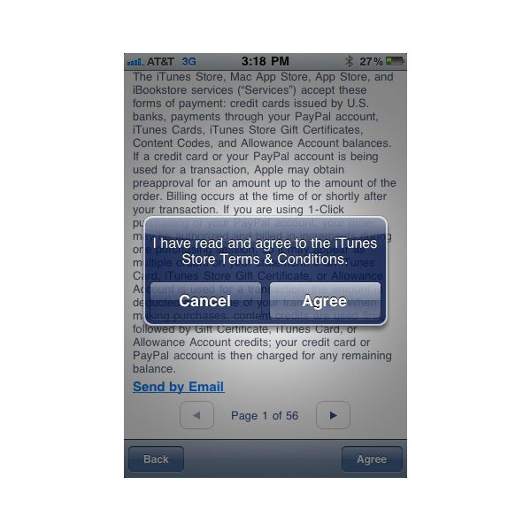 iTunes - Agree to Terms & Conditions