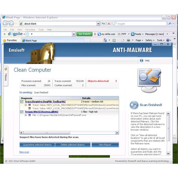EmsiSoft Detected Adware on Dogpile Registry entries
