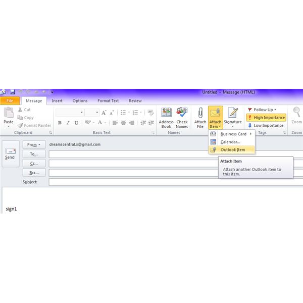 Fig - Send Email Distribution List to Someone In Outlook - Select Outlook Item