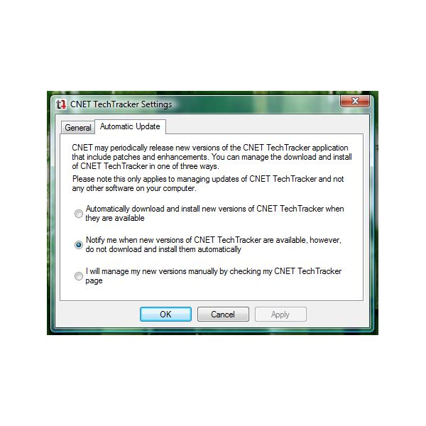 Automatic Update settings for TechTracker software