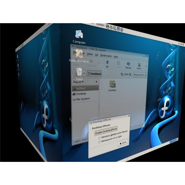 This images shows the Compiz Cube in action