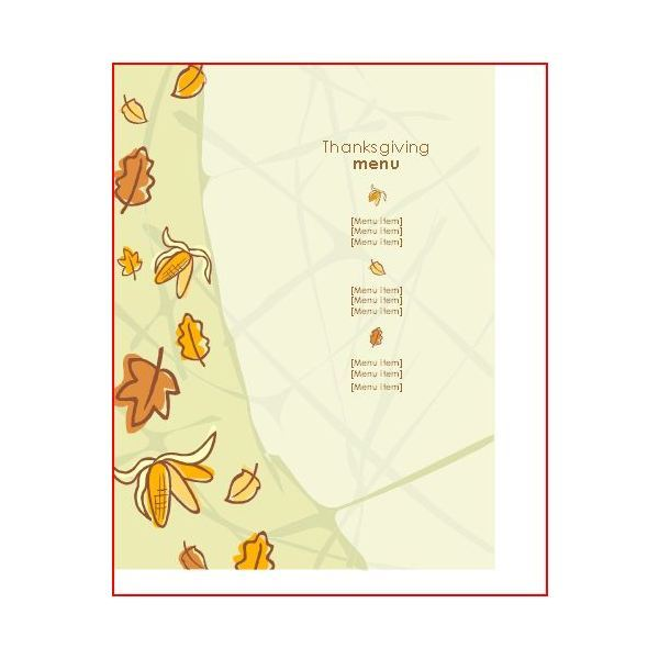 Thanksgiving Menu Template From Microsoft Office Online