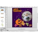 pumpkin and Happy Halloween embellishment added to page on new layer