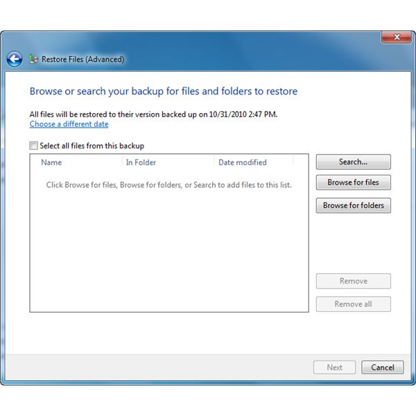 Options what to restore in Windows 7 from Vista backup files