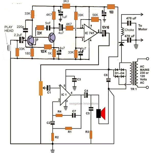 Portable Cassette Tape Player Circuit Diagram, Image