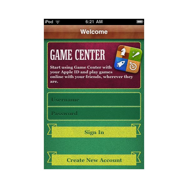 Game Center Log In