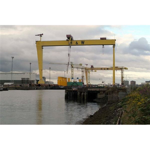 Two Massive cranes span the flooded drydock from Wiki Commons by Wilson Adams