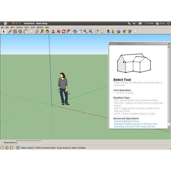 Google SketchUp 8 running on Ubuntu 11.04