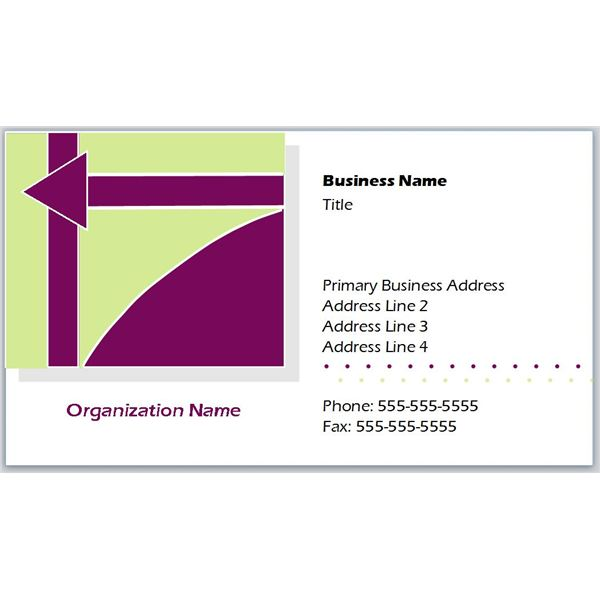 Business Card With Purple and Green Shapes