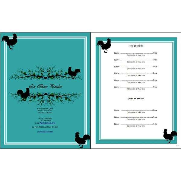 ... Dinner Menu Template Word Download ...
