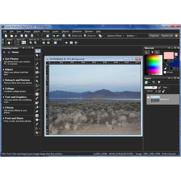 PaintShop Photo Pro X3 Editor Interface