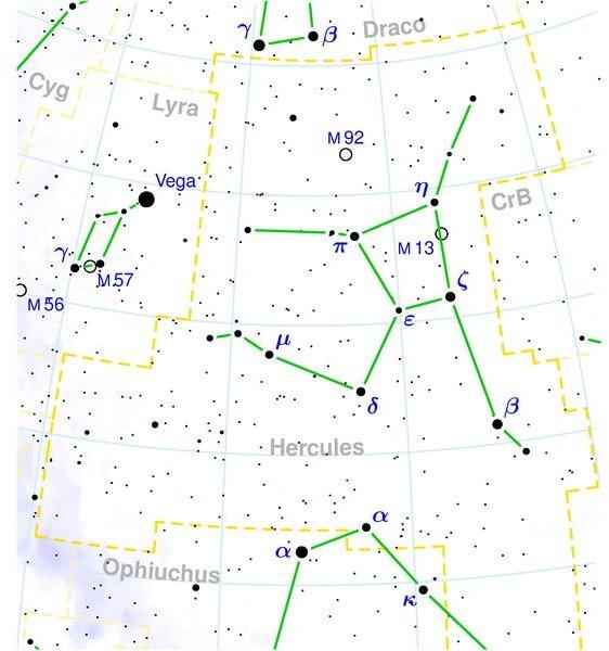 Hercules constellation map
